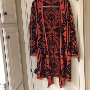 Sweaters - Long orange and black cardigan